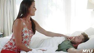 Slutty milf Sofie Marie gets wet and bangs her stepson under husband's parfum