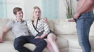 Cuckold boyfriend watches his GF Adry Berty having sex with a stranger