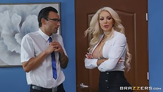 Busty Abaddon Nicolette Shea hooks almost with a lucky gentleman