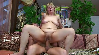 Older Flabby Tyro Woman Riding Younger Cock