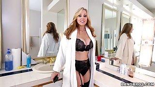 Erotic interracial fucking all over lovely MILF Julia Ann in lingerie