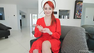 Solely redhead inserts a big toy right prevalent her puffy cherry