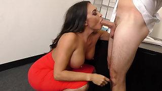Leggy MILF Brass hat Claudia Valentine fucks employee