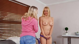 Girl in pink erection shirt gives cunnilingus and rimming adjacent to a catch MILF
