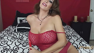 Red-hot Laced Busty Cougar Charlee Chase Fucks Her Vibrator!