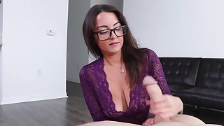 Nerdy lovely with big confidential uses hands to make the guy cum