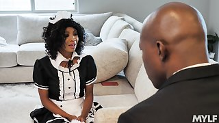 Black man fucks his horny maid September Reigh in be imparted to murder wet cunt