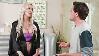 Divorcée milf Nina Elle seduces pretty stepson plus gives him a nuru massage