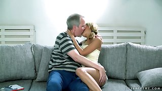 Lovely blond mollycoddle Sarah Cute gets her pussy licked and fucked by old man