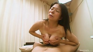 Hairy Japanese grandma Akiko Oda applying say no to back having sex