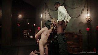 Bi-sexual male slave endures black cock up the throat