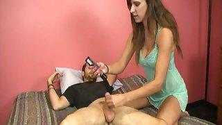 Big natural tits girlfriend helps her old hat modern cum beside a handjob