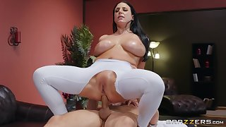 Big-assed, busty Angela White revels close to fingering and an oiled anal fuck